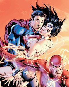 Superman, Wonderwoman, and The Flash.