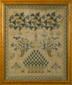 LARGE SCHOOLGIRL SAMPLER WORKED BY ELINOR ESTHER DOMAILLE, AGED 11 YEARS, GUERNSEY, CHANNEL ISLANDS, AUGUST 1832.