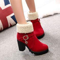 Fashion Chunky Heel Belt Buckle Lambs Wool Boots