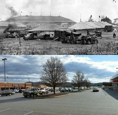 Lynchburg Then and Now - Harvey's Field | In the top photo from the archives of The News & Advance, the Ringling Brothers and Barnum & Bailey Circus is seen set up in Harvey's Field in Lynchburg, Virginia on October 28, 1952. The lower photo shows the same location (the Wards Rd. Kroger store & parking lot) as seen today (December 31, 2011) and from the same vantage point. In the top photo, the rear of Willie C. Harvey's house on Wards Rd. is visible, along with the mountains…