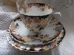 Beautiful blue white pink and gilt china tea by Collectablesgalore, £9.75