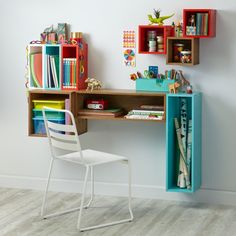 Our Cube and Narrow Wall Shelves connect to modular pieces in our Cubby Wall Shelf Collection to build shelves, desks & more for your kids' room.