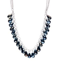 Loving this Metallic Black & Silvertone Teardrop Statement Necklace on #zulily! #zulilyfinds