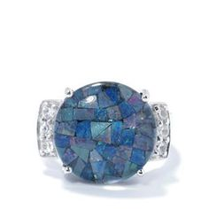 Mosaic Opal Ring with White Zircon in Sterling Silver 0.36ct