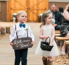 Ring Bearer Sign for Wedding Last Chance to Run Wooden Sign for Ceremony Decorations, Wooden Rustic Dream Wedding, Wedding Day, Wedding Ring, Kids In Wedding, Autumn Wedding, Ring Bearer Signs, Ring Bearer Ideas, Flower Girl Signs, Flower Girls