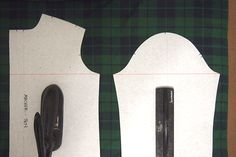 Quick and Easy Plaid Matching: I don't worry too much about the general placement of each vertical stripe on my garments, but I do want my stripes to line up horizontally. Draw a straight line connecting the underarm points across the front, back, and sleeve. Since the pattern is drafted for these points to meet up this will make sure your plaids meet as well.