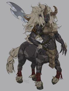 """Female Lynel"" by Victoria Yurkovets Fantasy Character Design, Character Design Inspiration, Character Concept, Character Art, Creature Concept Art, Creature Design, Dnd Characters, Fantasy Characters, Fantasy Creatures"