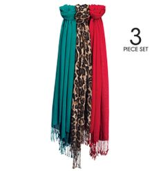 """Set of three scarves. Each, 21"""" W x 70"""" L with 3 1/2"""" fringe. Rayon. Hand wash, dry flat. Imported. reg.$29.99"""