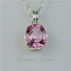 Pink Topaz Sterling Silver Necklace 10x8mm Cushion by Gusgusgems, $170.00