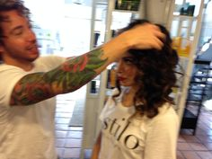 Mario Tort doing hair for The Skin Specialist, Vanessa Tort of Estilo Salon and Spa   Capuchino Beauty - Houston Makeup Artists, Hair Stylists