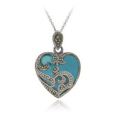 Sterling Silver Marcasite & Turquoise Heart Necklace, 18""
