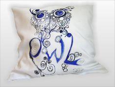 ZAKRĘCONA+SOWA-grafika+ręcznie+malowany+45x45+w+W.pelni+Design+na+DaWanda.com