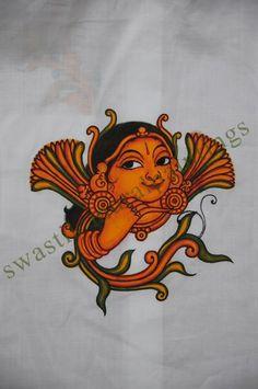 Face Saree Painting, Kerala Mural Painting, Dress Painting, Fabric Painting, Painting & Drawing, Indian Traditional Paintings, Indian Paintings, Human Sketch, Mural Art