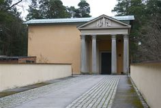 Uppståndelsekapellet (the Resurrection Chapel), designed by Sigurd Lewerentz Nordic Classicism, Classical Architecture, Temple, Traditional, Landscape, Building, Outdoor Decor, Facades, Sweden