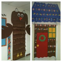 For fall I decorated my classroom door as an owl. I turned the owl into a Gingerbread house for Christmas time :)