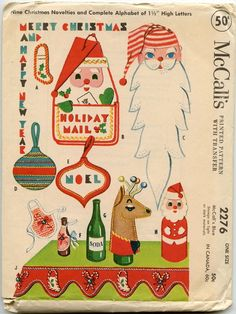 Vintage Christmas Sewing Patterns (Plus a Chinese Christmas Dinner) – Quilter's Bug Christmas Style, Chinese Christmas, 1950s Christmas, Christmas Past, Vintage Christmas Cards, Christmas Images, Vintage Holiday, Felt Christmas, Christmas Crafts