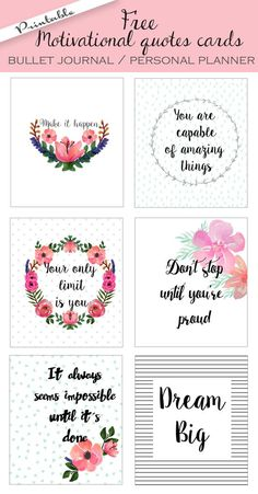 Motivation Quotes QUOTATION – Image : Quotes about Motivation – Description Bullet journal / personal planner motivational quotes cards. Sharing is Caring – Hey can you Share this Quote !Quotes for Motivation and Inspiration QUOTATION - Image : As t Printable Stickers, Printable Planner, Planner Stickers, Printable Art, Free Printable Quotes, Free Quotes, Printable Vintage, Printable Designs, Scrapbook Stickers