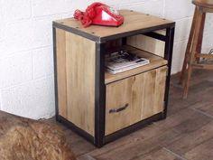 Meuble d'appoint sur mesure en bois et acier brossé