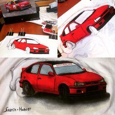 Handmade painting on T-shirt Opel Kadett GSi  old lady