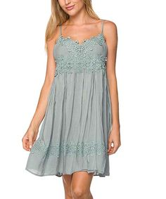 Take a look at this Blue Gray Floral Crochet-Overlay Camisole Dress today!