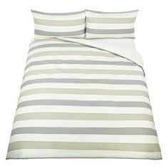 Buy John Lewis Celina Stripe Duvet Cover and Pillowcase Set, Natural, Single Online at johnlewis.com Singles Online, John Lewis, Duvet Covers, Pillow Cases, Bedroom, Natural, Stuff To Buy, Furniture, Home Decor
