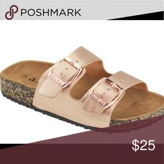 ROSE GOLD DOUBLE STRAP SANDAL ONE SIZE SMALL PLEASE ORDER FULL SIZE UP Beautiful rose gold slip on sandal with adjustable buckles to accommodate different feet sizes. Perfect for summer!! Other colors listed in my closet! Shoes Sandals