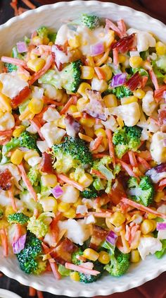Healthy Salad Recipes, Veggie Recipes, Cooking Recipes, Broccoli Recipes, Salad Recipes With Bacon, Bacon Recipes, Carrot Salad Recipes, Lettuce Salad Recipes, Italian Salad Recipes