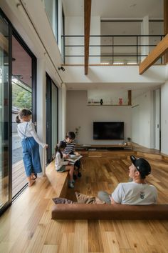 Modern Japanese Interior, Japanese Style House, Japanese Interior Design, Hall Room Design, Sunken Living Room, Bedroom Floor Plans, House Stairs, Modern House Plans, Tiny House Design