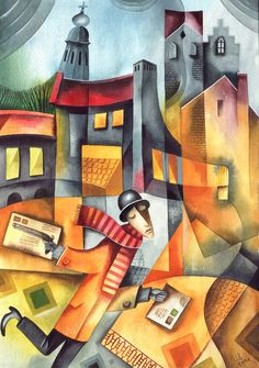 Two Letters by Eugene Ivanov, watercolor, 2004.  #eugeneivanov #cubistic #urban #landscape #cityscape #cubism #@eugene_1_ivanov