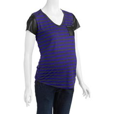 Planet Motherhood Maternity Fashion Tee with Faux Leather Trim