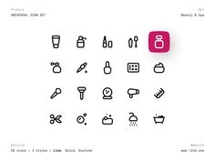 Outline Illustration, Spa Design, Beauty Spa, Pictogram, Styles, Icon Set, Icons