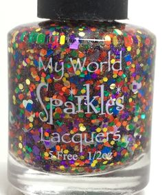 Love Wins!, Clear holo base w/ rainbow  & heart glitters, by My World Sparkles Lacquers-Handmade 5-Free Indie nail polish - Full size 1/2 oz - pinned by pin4etsy.com