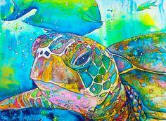 Turtle Coastal Decor, Sea turtle painting reproduction Poster Print sea ocean life by Jen Callahan Award winning Artist Sea Turtle Painting, Sea Turtle Art, Turtle Love, Sea Turtles, Silk Painting, Painting Prints, Culture Art, Delphine, Polychromos