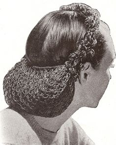 Vintage 1940s Snood Hair Net Headband Crochet Pattern