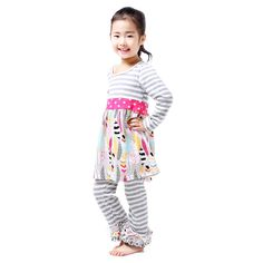 a347bb1a4e0a Aliexpress.com   Buy Retail 1 Pcs Toddler Girl Clothing Fall Girls Clothes  Kids Clothes Children Clothing set Kids Clothing Set Feather Print Stripe  from ...