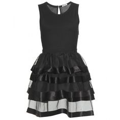 Miu Miu Cotton And Silk Tiered Dress ($895) ❤ liked on Polyvore