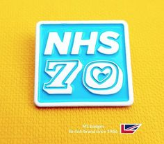 Another celebration badge for our NHS anniversary, brand guideline NHS blue enamel with white dye plated detail, very nice. Name Badges, Pin Badges, Make Your Own Badge, Custom Badges, 70th Anniversary, Brand Guidelines, Plating, Celebration, Enamel