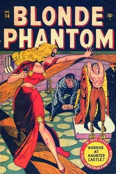Cover art by Syd Shores for Blonde Phantom #14, Summer 1947.