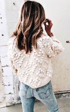 #winter #outfits white knit sweater
