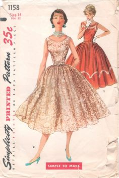 Gorgeous Vintage 1950s Simplicity 1158 Evening Worthy Full Skirted Dress Sewing Pattern B32