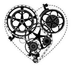 Steampunk heart, tattoo maybe? Future Tattoos, New Tattoos, Tatoos, Arabic Tattoos, Dragon Tattoos, Pimp Your Bike, Bike Tattoos, Gear Tattoo, Bicycle Tattoo