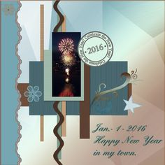 Dutchie Nelleke's gallery - Jan.2016 - Happy New Year in my town. -Here is my page - Jan.2016 - Happy New Year in my town.  made by the loving Blog Train freebie from KJDdesigns - Karen in MyMemories.  thanks Karen. shadowed a bit font - Verdana pict. from Fire work in my town Lemmer on New Years day.