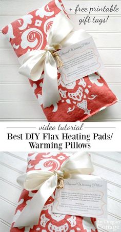 Video tutorial for DIY flax heating pads warming pillows. Click through for free printable gift tags for easy gift giving.