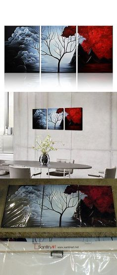 Oil Paint 28112: Santin Art Triptych Canvas Mural Modern Abstract Painting Wall Decor Landscape -> BUY IT NOW ONLY: $49.99 on eBay!