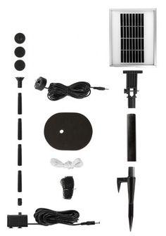 Solar-Wasserpumpen-Set, 200 l/h mit LED-Beleuchtung und Batteriespeicher €59,99