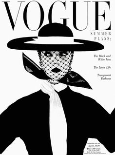 """Vogue UK cover, June 1950 with Jean Patchett by Irving Penn.""""Black and white - more brilliant than colour; symbolic of a black and white season. Wide, round, level hat by Lilly Dache. Scarf by Kimball"""" (Vogue). Vogue Vintage, Vintage Vogue Covers, Fashion Vintage, 1950s Fashion, Vogue Uk, Vogue Paris, Arte Fashion, Editorial Fashion, Magazine Editorial"""