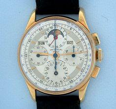 Swiss Universal-Geneve 18K gold Tri-Compax vintage wrist watch circa 1945. Dream Watches, Cool Watches, Watches For Men, Rolex, Swiss Luxury Watches, Watch Companies, Patek Philippe, Mechanical Watch, Audemars Piguet