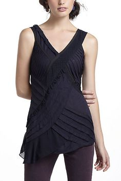 Asymmetric Pleats Tank anthropologie. Artistically pleated with a nice, long line...can I have one in every color to wear under cardigans, please?