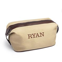 Our Dopp bag is to men what cosmetic bags are to women, only not enough guys have one! The rugged natural colour canvas bag features a handsome rich brown PU leather zipper and trim and handles. Personalize it with his name or initials to create a fantastic gift for groomsman. Fill it with little sundries and it's a perfect welcome bag for a destination wedding!