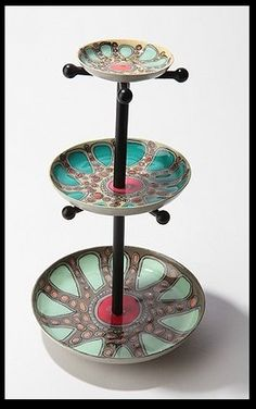 Kaleidoscope Jewelry Stand from Urban Outfitters. The paint design is killer. I must replicate it, on something else. Diy Jewellery Dish, Jewellery Storage, Jewellery Display, Jewelry Organization, Jewelry Stand, Jewelry Holder, Cute Jewelry, Diy Jewelry, Jewelry Tray